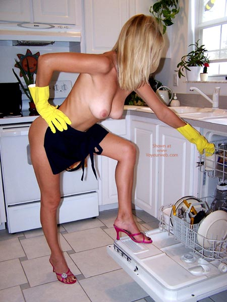 Pic #1 - Topless In Kitchen - Blonde Hair, Huge Tits, Topless In Kitchen, Large Boobs, Nude Housework, Red Sandals, Yellow Gloves, Blonde, High Heels In Kitchen