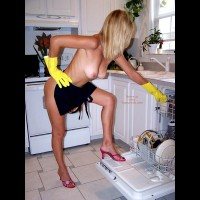 Topless In Kitchen - Blonde Hair, Huge Tits