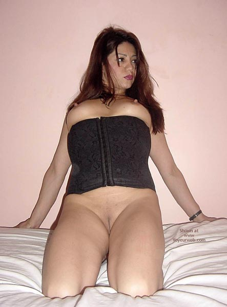 Pic #1 - Black Corset Exposed Tits - Shaved Pussy, Showing Tits , Black Corset Exposed Tits, Shaved Pussy, Naked Latino, Eraser Nipples, Long Erect Nipples