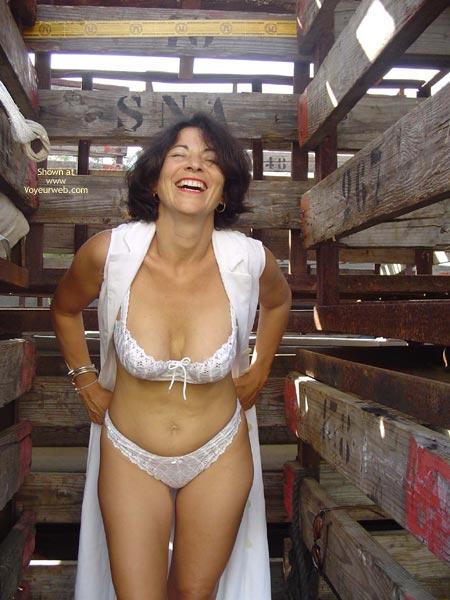 Pic #1 - Barn Stall - Bra, Sexy Panties , Barn Stall, White Panties, Livestock, White Bra