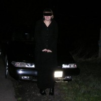 Naughty Amy Outside The Car