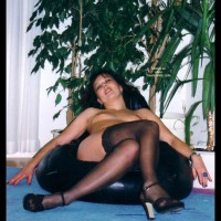 Nude Woman  Black Stockings  Seated - Heels, Stockings