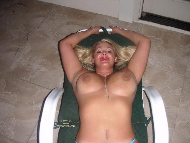 Pic #1 - Milf Posing Outdoor - Big Tits, Red Lips , Milf Posing Outdoor, Big Tits, Blond With Big Tits, Red Lips, Blonde With Big Boobs On Lounge Chair, Topless On Outdoor Furniture