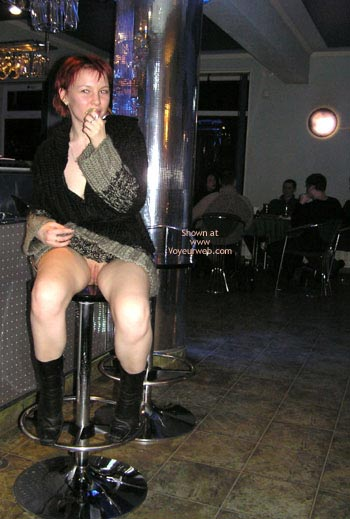 Pic #1 - Pantyless Girl In Public - Boots , Pantyless Girl In Public, Posing In Restaurant, Black Boots