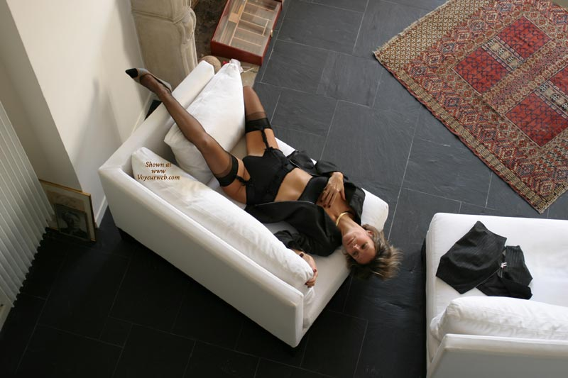 Pic #1 - Girl Lying On A Chair - Chair, Stockings, Touching Herself, Sexy Lingerie , Girl Lying On A Chair, Couch Pose, Looking Down, Black G-string, Black Stockings, Black Lingerie, Touching Herself
