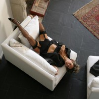 Girl Lying On A Chair - Chair, Stockings, Touching Herself, Sexy Lingerie