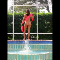 Back View Poolside Nude Girl - Blonde Hair, Dark Hair, Long Hair, Naked Girl, Nude Amateur