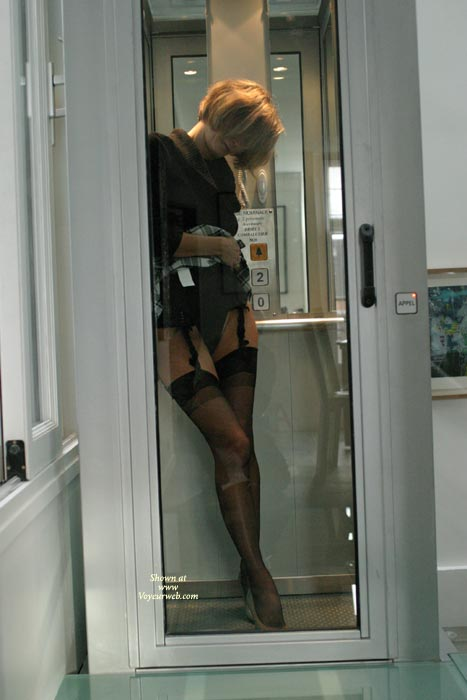 Pic #1 - Suspenders And Stockings In Public - Stockings, Nude Amateur , Suspenders And Stockings In Public, Public Phone Booth, Short Hair Blonde, Thigh Highs, Black Stockings, Office Nude, Fetish Dress