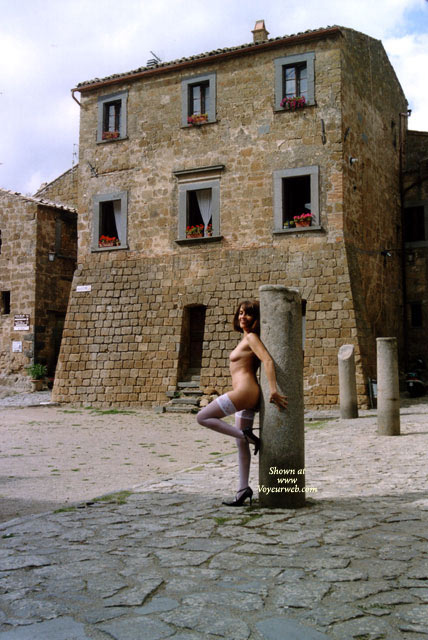 Pic #1 - Stone Building - Stockings , Stone Building, White Stockings, Side Nude, White Lace Top Thigh Highs