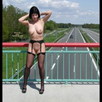 Flashing The Traffic - Nude In Public, Shaved Pussy