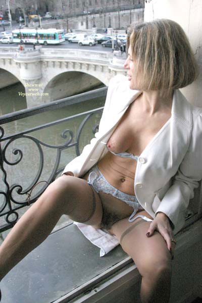 Pic #1 - Public Exposure - Brunette Hair, Exposed In Public, Hairy Bush, Stockings , Public Exposure, Bush, Brunette, Sexy Pose, White Blazer And Blue Garters And Bra, Quick Flash, Stockings