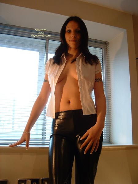 Pic #1 - Sexy Young Brunette In Pvc Pants