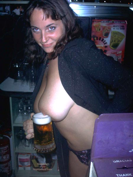 Pic #7 - A Very Busty Barmaid Flashing At Work