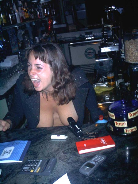 Pic #8 - A Very Busty Barmaid Flashing At Work