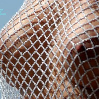 Closeup Of Firm Tits Under Braless Fishnet Blouse - Erect Nipples, Firm Tits, Natural Tits