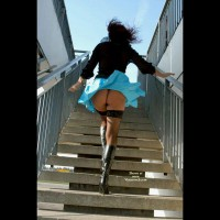 Upskirt Peek - Round Ass, Stockings, Upskirt , Upstairs Upskirt, Black Calf Boots, Windy Days, Sweet Ass On Stairway, Black Leather Boots, Black Blouse, Blue Mini Skirt, Black Thigh High Nylons, Climbing Up Stairs, Sexy In Stockings