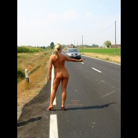 Nude Outdoors Hitchhiking Rear View Standing Naked In Heels