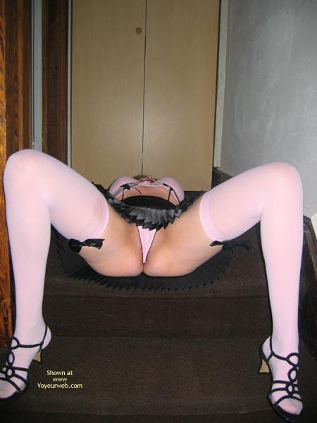 Pic #1 - Upskirt Panties - Spread Legs, Stockings , Upskirt Panties, White Stockings, Spread Legs, Pink Hose, Lying On Her Back, Knees Raised