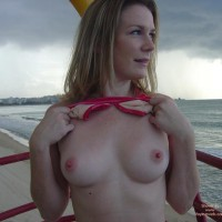 Lifting Up Bikini Top - Erect Nipples, Flashing, Pink Nipples