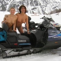 Two Naked Girls - Blonde Hair, Snow