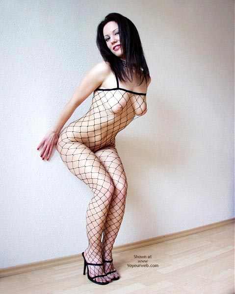 Pic #1 - Up Against The Wall - Bend Over, Black Hair, Heels , Up Against The Wall, Flirty Black Fishnet, High Heels, Bending Over, Black Hair, Caught Up In Some Net, Nipple Tipped Torpedos