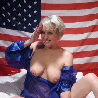 Mature Woman , Mature Woman, Mature Breasts Exposed, Blue Nightshirt