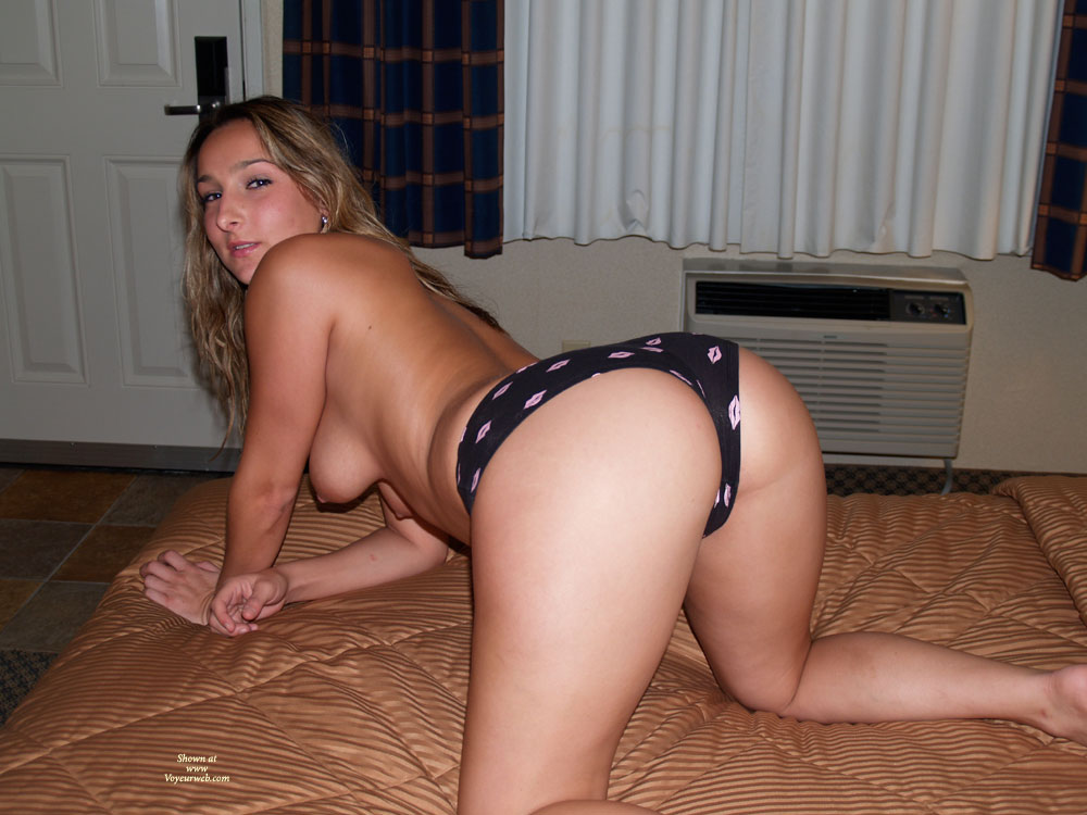 Pic #1 - Blonde Rear View On Knees On Bed Topless - Blonde Hair, Doggy Style, Hanging Tits, Long Hair, Topless , Big White Ass, Kneeling On Mattress, Blonde In Doggystyle, Looking Behind, In A Monokini, Long Wavy Blonde Hair, Sexy Doggy Style, Wfi With Panties