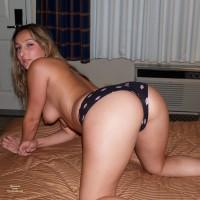 Blonde Rear View On Knees On Bed Topless - Blonde Hair, Doggy Style, Hanging Tits, Long Hair, Topless