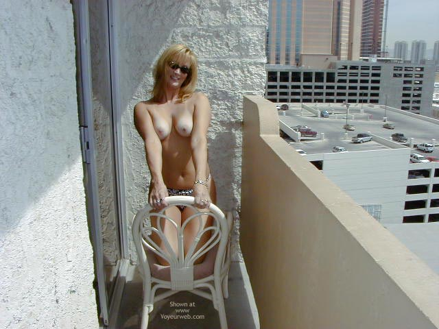 Pic #1 - Toppless Blonde On The Balcony - Topless , Toppless Blonde On The Balcony, Topless Blonde In Dark Glasses, Topless
