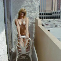 Toppless Blonde On The Balcony - Topless