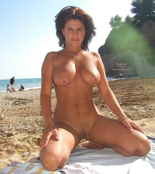 Pic #1 - Golden Brown - Brunette Hair, Exhibitionist, Nude Beach , Golden Brown, Nude Beach Posing, Big Tit Brunette, Full Frontal Nude On Beach, Tanned Beach Brunette, Heavy Round Nipples, Exhibitionist, Firm Roll-over Boobs At The Beach