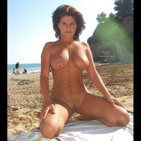 Golden Brown - Brunette Hair, Exhibitionist, Nude Beach
