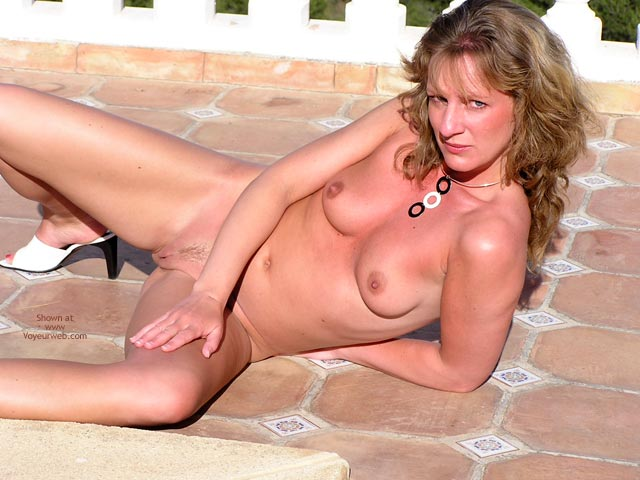 Pic #1 - Bright Sunshine - Long Hair, Skin , Bright Sunshine, Red Painted Toe Nails, Red Sunburnt Skin, Lounging Naked Next To Pool, Long Blond Hair, Flashing Pussy Outdoors, White High Heels