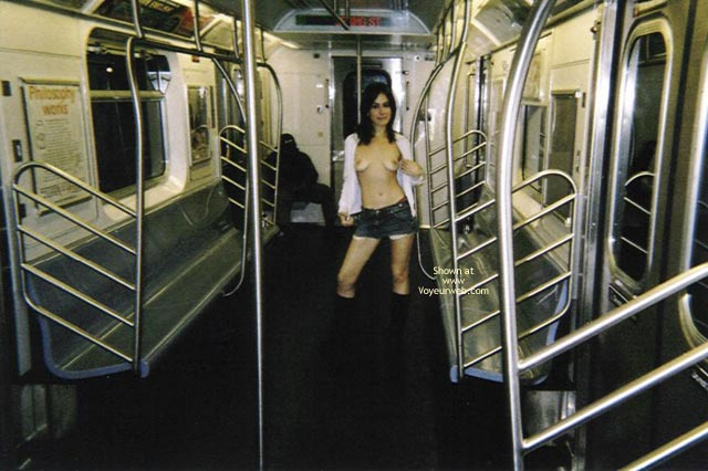 Pic #1 - Topless In Public Transportation , Topless In Public Transportation, Flashing Boobs, Short Shorts, Topless Subway