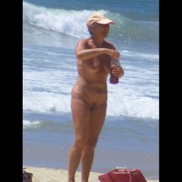 Mature Full Frontal Nude Woman On The Beach