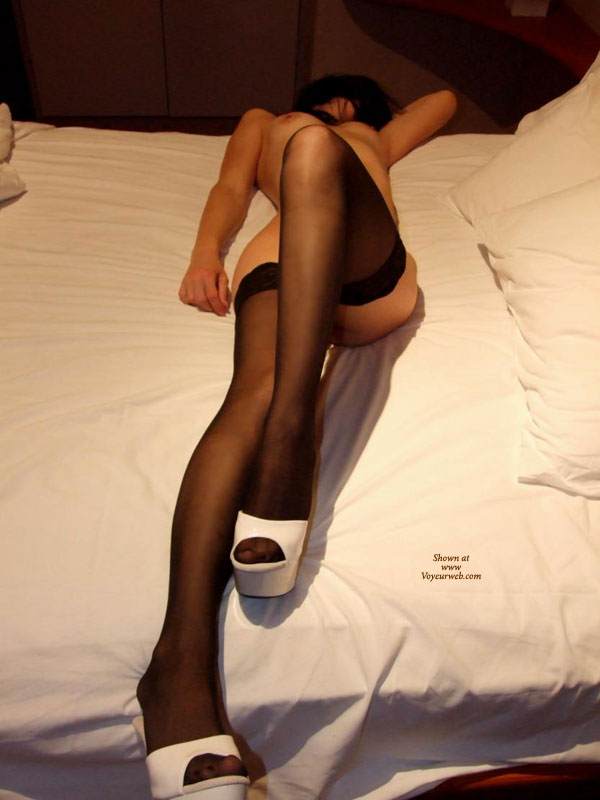Pic #1 - Naked On The Bed In Black Stockings And White Platform Shoes - Erect Nipples, Long Legs, Stockings , Naked On Bed With White Sheets, Face Hidden, Leg Bent With Knee Up, Lean Atheletic Body, Slim And Naked, Black Silk Stockings, Long Shapely Legs, Hand Behind Head