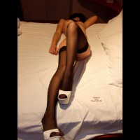 Naked On The Bed In Black Stockings And White Platform Shoes - Erect Nipples, Long Legs, Stockings