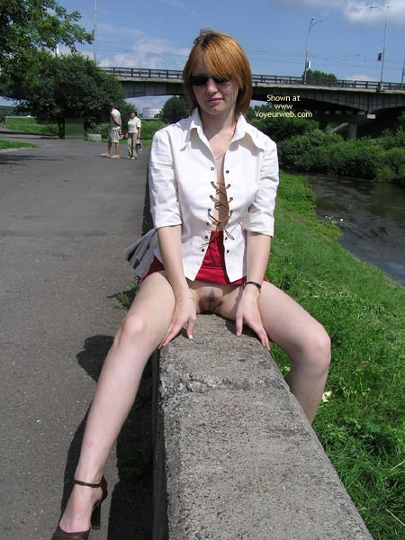 Pic #1 - Pussy Eip - Flashing, Nude In Public, Pale Skin, Red Hair, Sunglasses , Pussy Eip, Sunglasses, Pussy Flash, Sunday Stroll, Pulled Up Red Skirt, Secret Flash, Straddling In Public, Shaved Lips, Commando Pose On Fence, Red Hair, Pale Skin