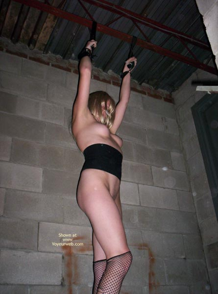 Pic #1 - Outbuilding Tied Girder - Fishnet, Stockings , Outbuilding Tied Girder, Tied Up Blonde, Fishnet Stockings, Held Captive Hanging Arms, Stockings Torn Pulled Down, Fishnet, Tied To Ceiling