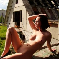 Nude Outdoors In Heels - Brown Hair, Hairy Bush, Large Breasts, Trimmed Pussy, Naked Girl, Nude Amateur
