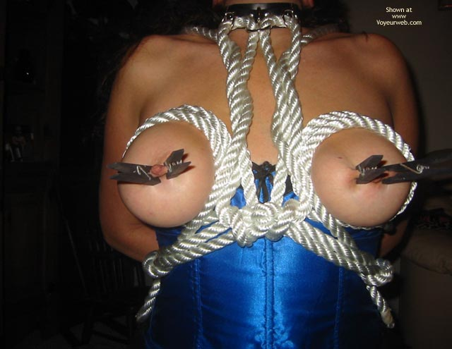 Pic #1 - Painful Nipples - Nipples , Painful Nipples, Tied Tits, Pinched Nipples, Pleasure And Pain, Clipped Nips, White Rope Breast Harness, Black Clothespins, Choker, Blue Satin Corset