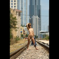 Naked Girl On The Tracks - Blonde Hair, Landing Strip, Long Hair, Nude In Public, Small Tits, Naked Girl, Nude Amateur