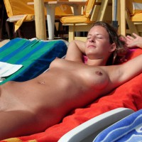 Shaved Blonde Sunning At The Beach - Blonde Hair, Brown Hair, Erect Nipples, Shaved Pussy, Naked Girl, Nude Amateur