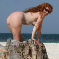 Nudist Redhead On A Beach. - Sunglasses, Naked Girl, Nude Amateur