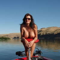 Brunette With Long Hair Naked On The Lake - Brown Hair, Brunette Hair, Large Breasts, Long Hair, Pierced Nipples, Sunglasses