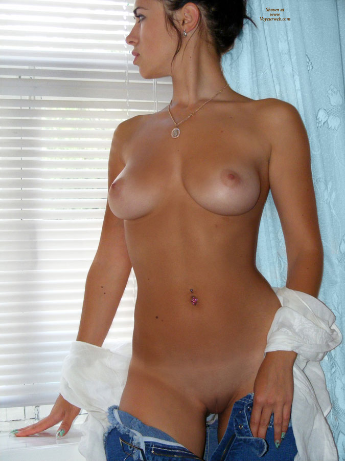 Pulled Down Jeans With Nothing Underneath - Shaved Pussy, Naked Girl, Nude Amateur , Striptease Whilst Gazing Out Of The Window, Great Nipples, Standing In Front Of Window With Blinds, Pants Down, Perfect Tits, Awesome Tits, Cute Window Shot, Taking Her Jeans Off, Nice Nails
