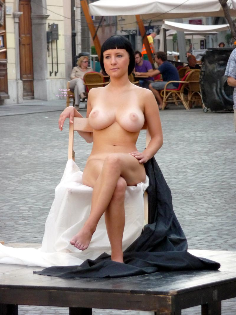 Pic #1 - Artist Model Posing In The Outdoors For An Artist - Black Hair, Large Aerolas, Large Breasts, Nude In Public, Looking At The Camera, Naked Girl, Nude Amateur , Public Nudity, Naked On The Square, Short Black Hair, Girl In Chair Posing For Artists, Naked Street Model With Great Tits, Completely Naked Head To Toes, Sitting In Public Nude, Strange Hair, Perfect Breasts, Big Boobs Posing Nude In Public, Artists Model, Bare Feet, Large Firm Funbags