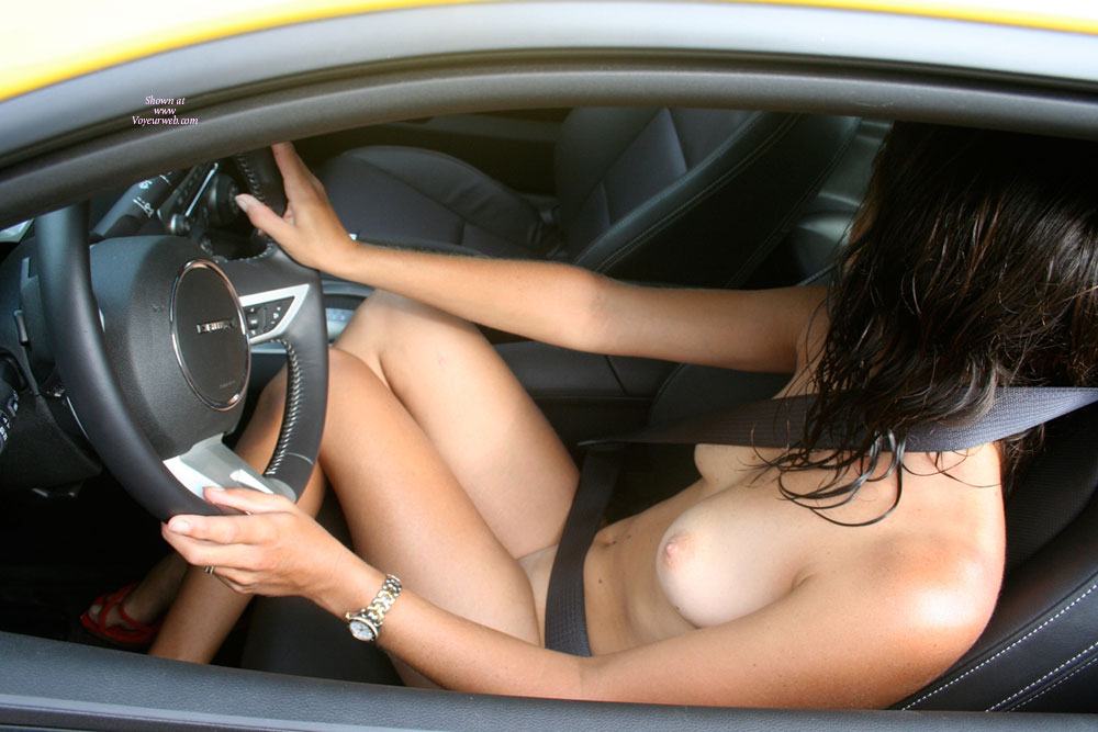 Naked Girl Driving A Car