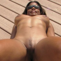 Nude On The Deck - Huge Tits, Spread Legs, Sunglasses, Trimmed Pussy, Naked Girl, Nude Amateur