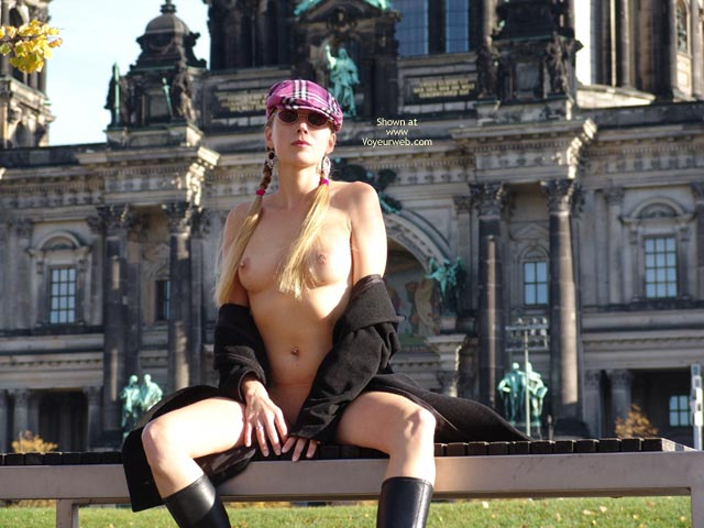 Pic #1 - Flashing With Open Coat - Exhibitionist, Flashing Tits, Flashing, Stockings, Sunglasses, Nude Amateur , Naked Royal, Pink Plaid Cap, Black Coat Open, Sightseeing Nude, Two Pig Tails And Boobs, Blond Pigtails, Boots Overcoat And Hat, Nothing Else, Black Boots, Round Sunglasses